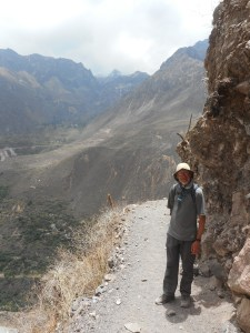 on the trail down into Colca Canyon Peru