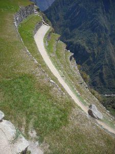 Machu Picchu  the look down the steep terraces...