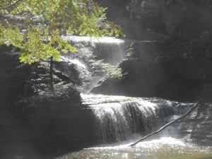 the churning  of white water Buttermilk Falls