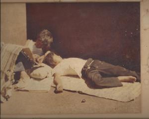 Mexico 1978-freight hopping kids asleep in gondola