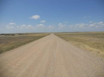 Badlands road to the horizon