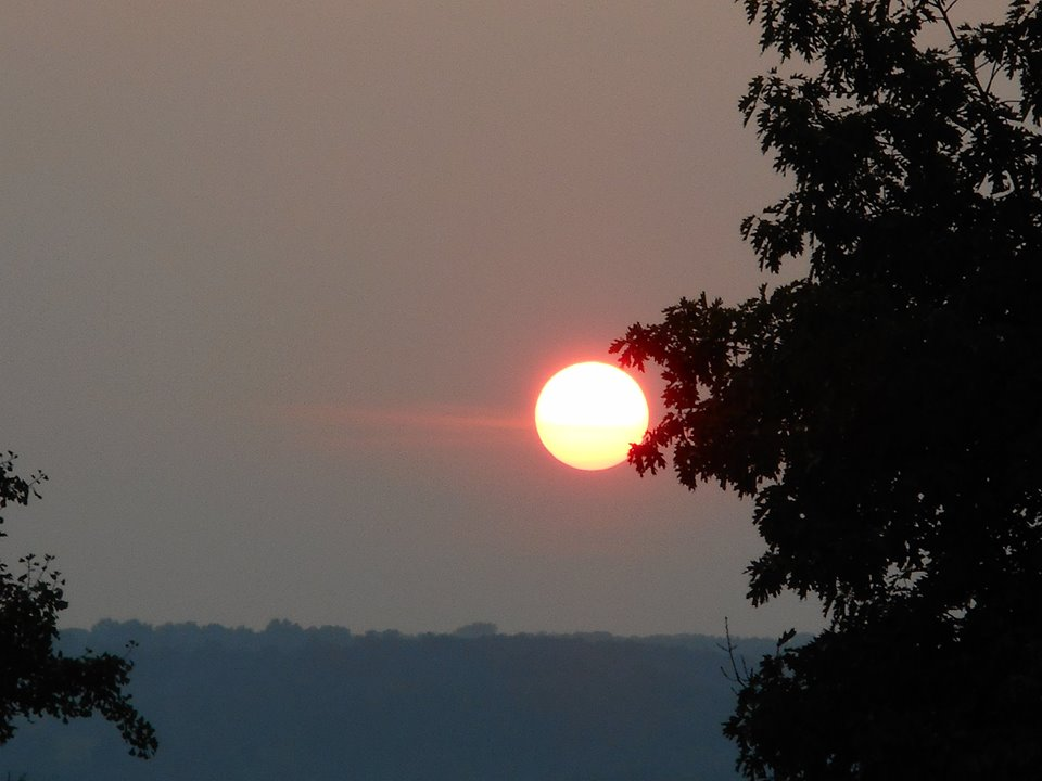 The sunset sky had some heat and humidity in it but this evening was very pleasant. I rode my bike over to see the sunset from Libe Slope... 9-02-15