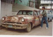 Jonathan with a Mercury in Ciudad Mante with one of the colorful cars I kept seeing and the boy in the photos was often out on the street and we became friends so he joined in the photo