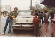 Jonathan with a Mercury on the street in Ciudad Mante, Mexico-1978..