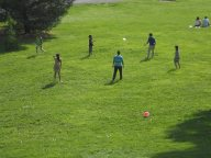 Cornell- A family tossing a frisbee around on libe slope...yesterday 5-24-14