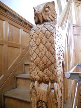 Owl woodwork in the Straight Memorial Room staircases... b