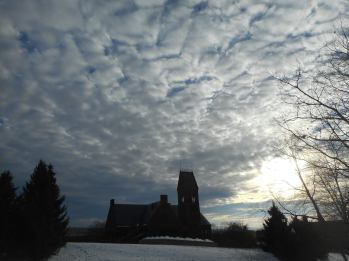 Cornell- cloud pattern over Sage Hall...